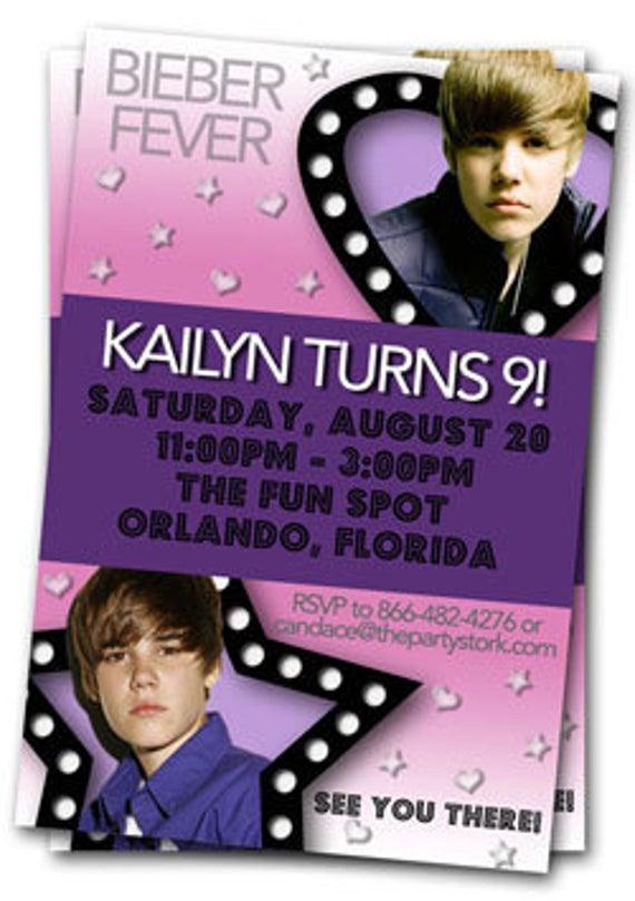 Items Similar To Justin Bieber Invitations Printable