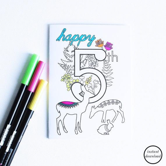 Items Similar To Kids Birthday Cards Printable 5th