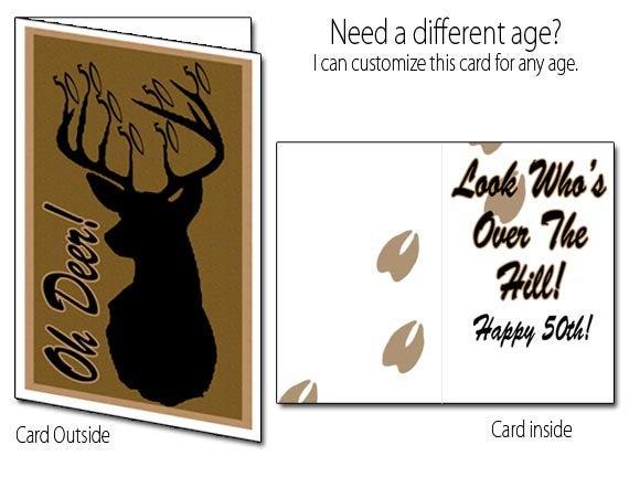 Items Similar To Printable Birthday Card Deer Hunting