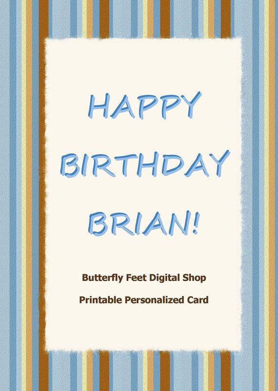 Items Similar To Printable Birthday Card For Men