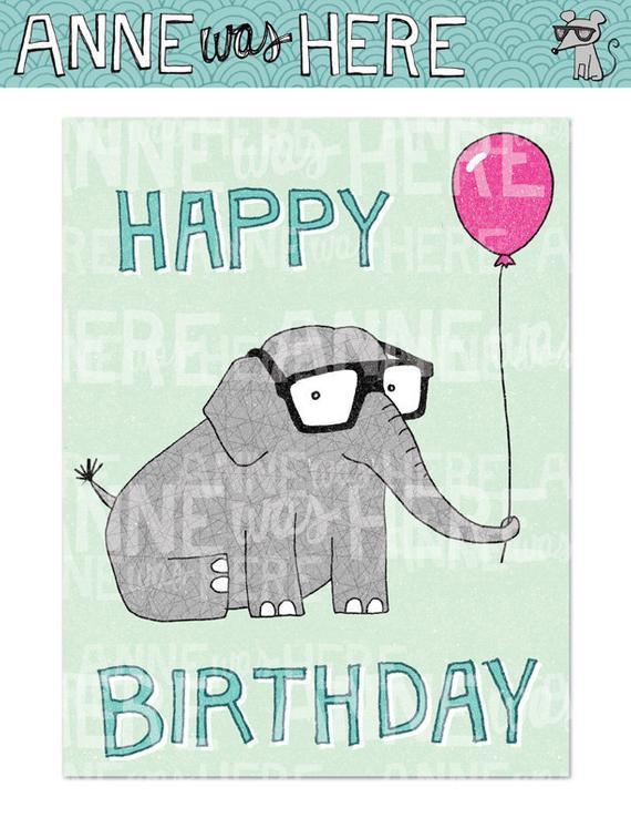 Items Similar To Printable Card Happy Birthday Elephant