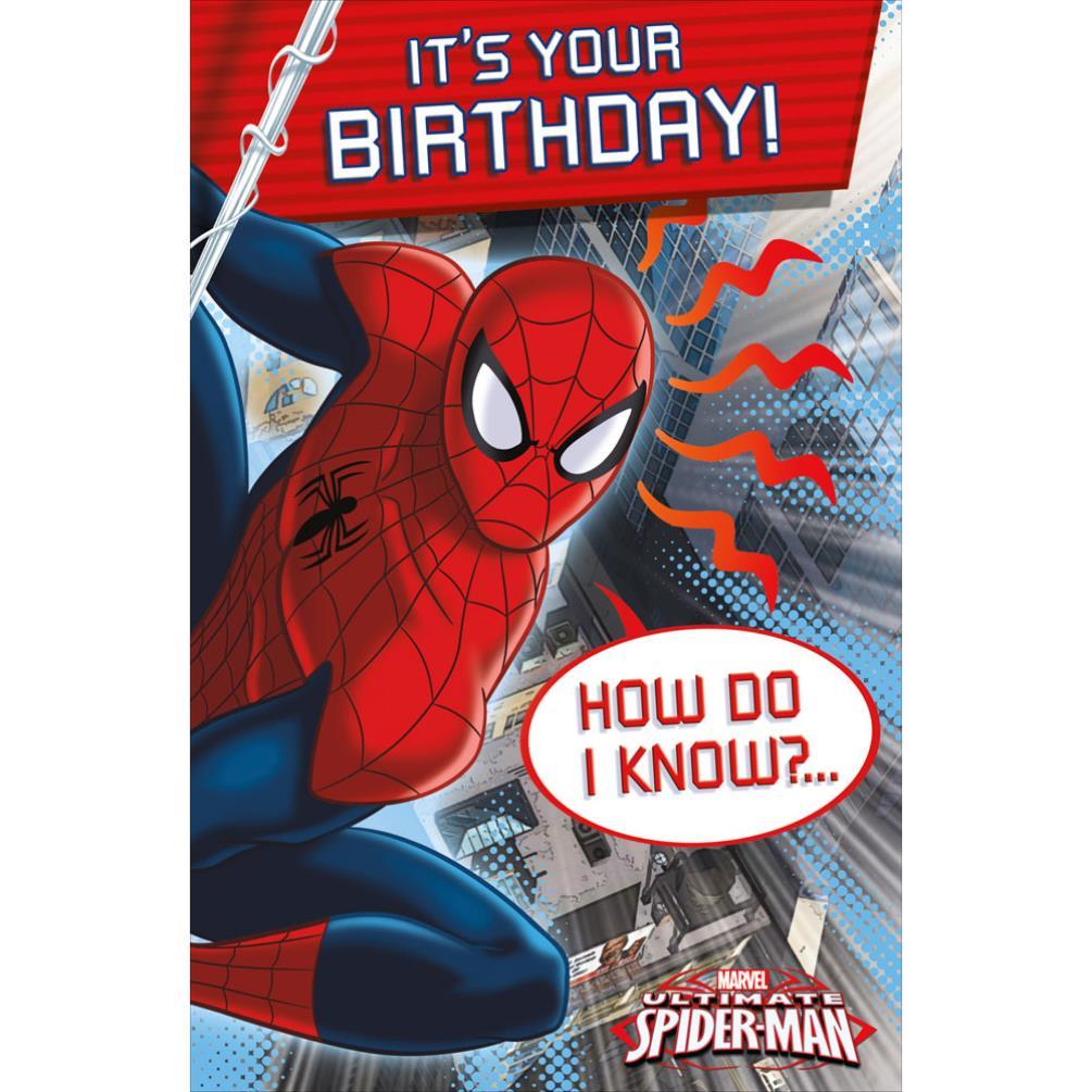 Its Your Birthday Spiderman Birthday Card 465370 0 1