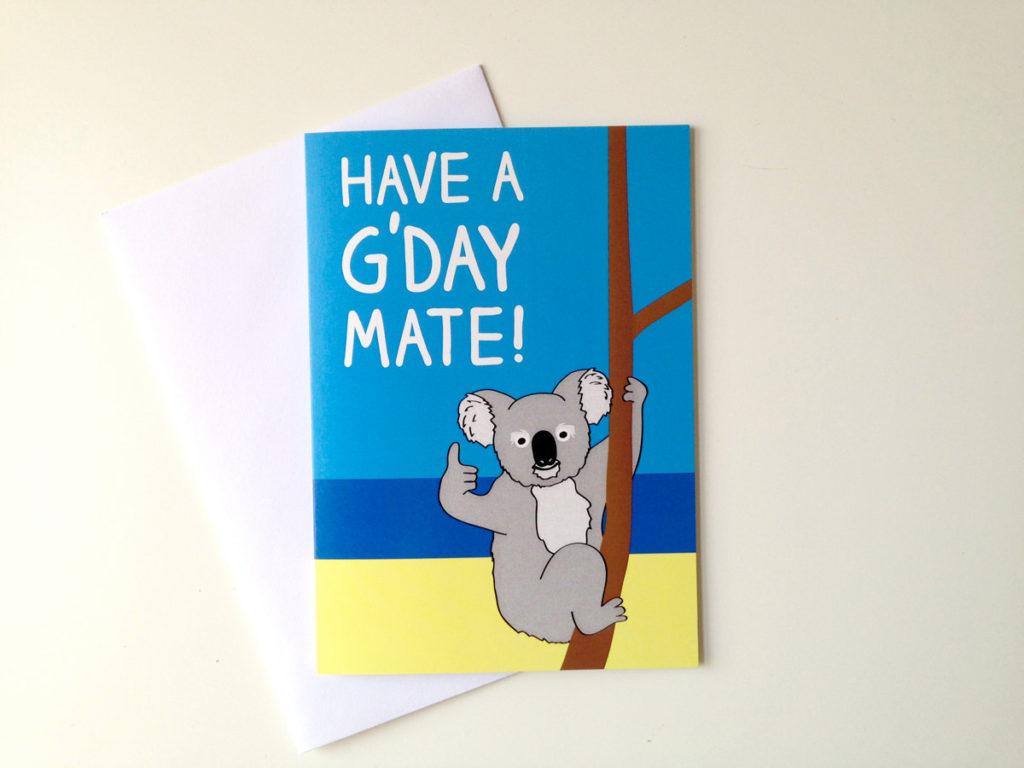 Koala Birthday Card Australian Birthday Card Aussie Bday