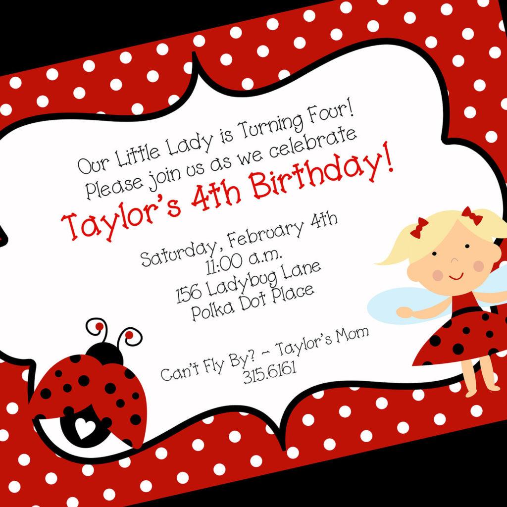 Ladybug Birthday Invitation Printable Invitation Design