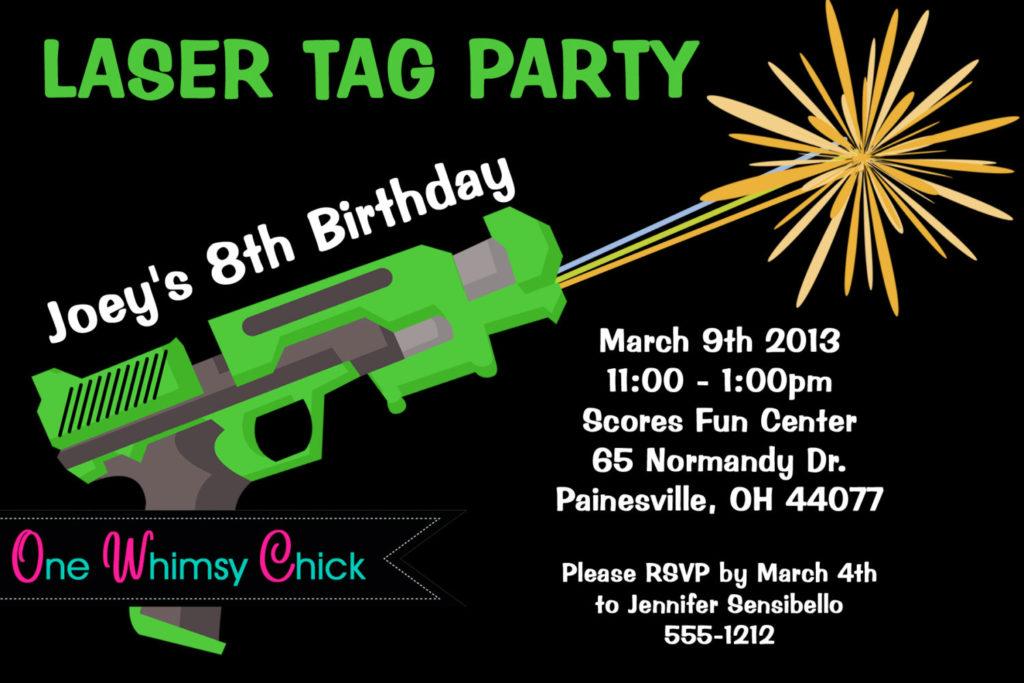 Laser Tag Birthday Invitation Printable Or Printed Laser