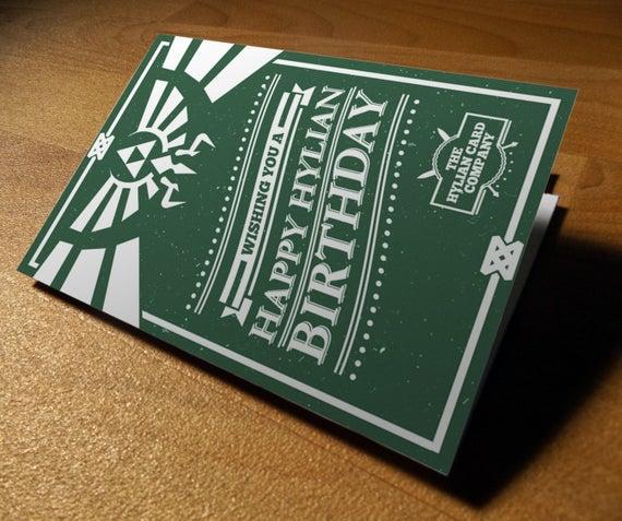 Legend Of Zelda Hyrule Birthday Card PoweredByPixels