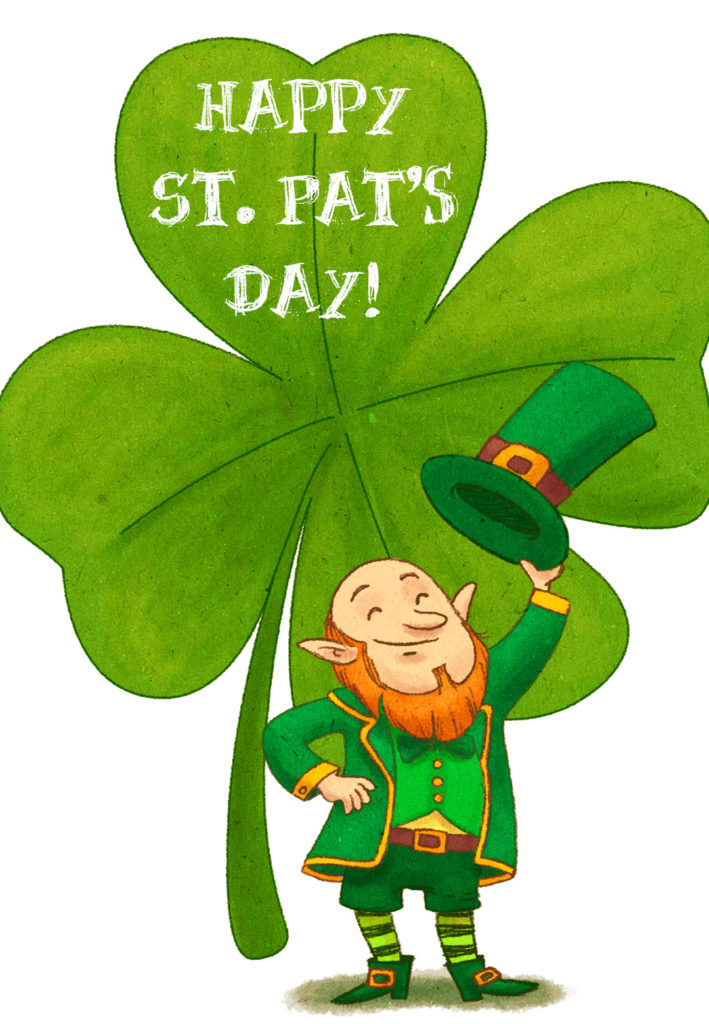 Leprechaun And Clover St Patrick s Day Card Free
