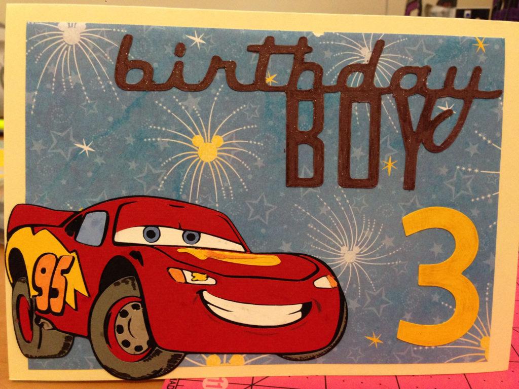 Lightning McQueen Birthday Card Created Using Cricut