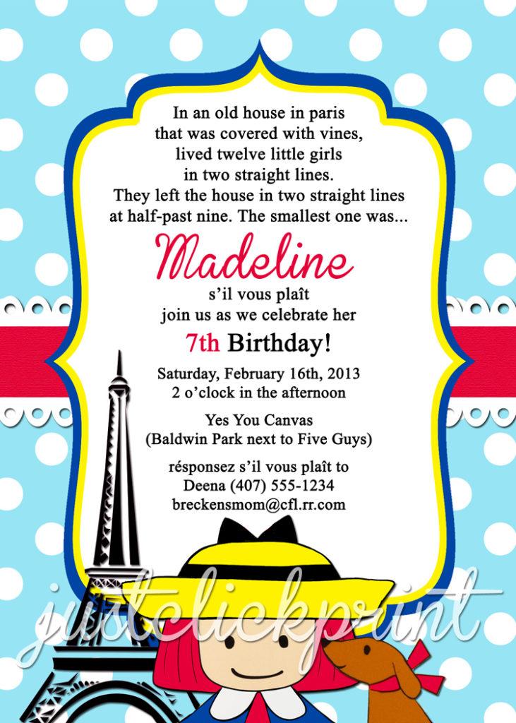 Madeline French Paris Birthday Invitation Printable Just