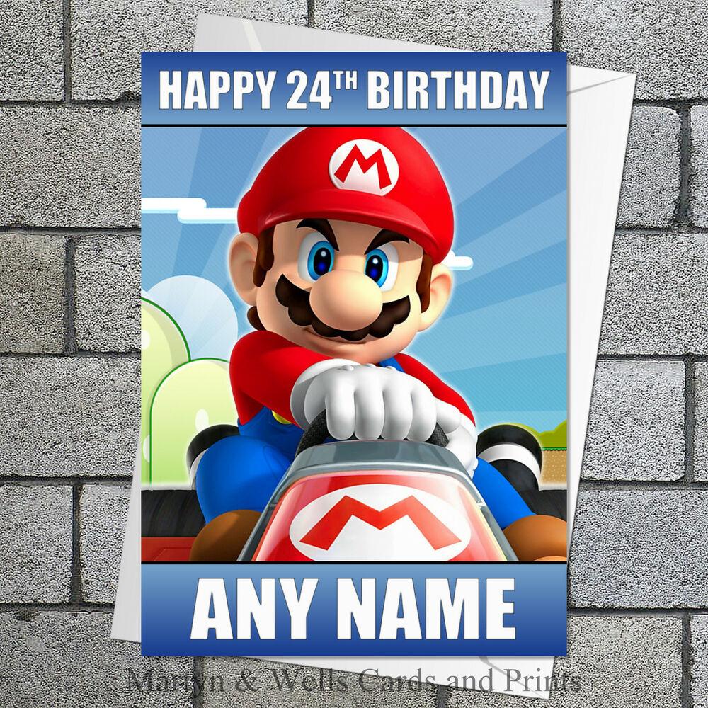Mario Super Mario Birthday Card Mario Kart