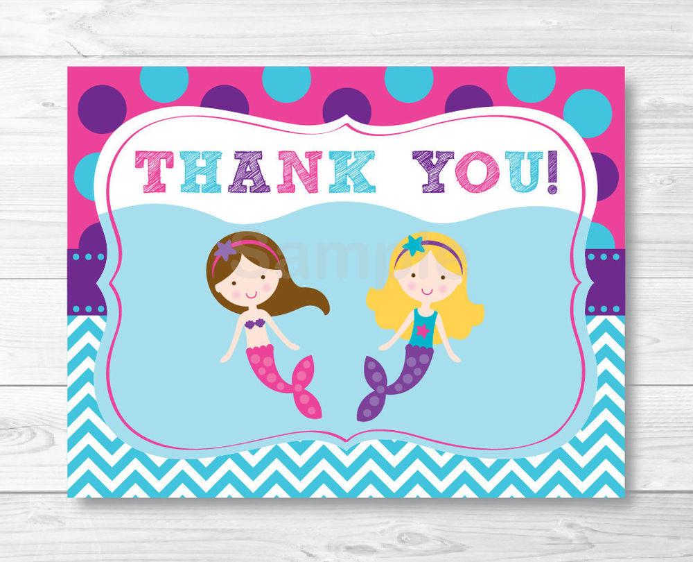 Mermaid Birthday Pool Party Thank You Card Printable EBay