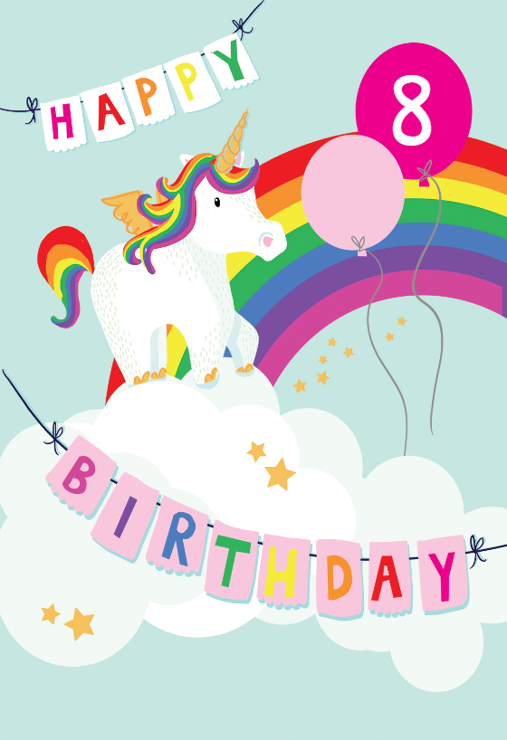 Merry Unicorn Birthday Card free Greetings Island