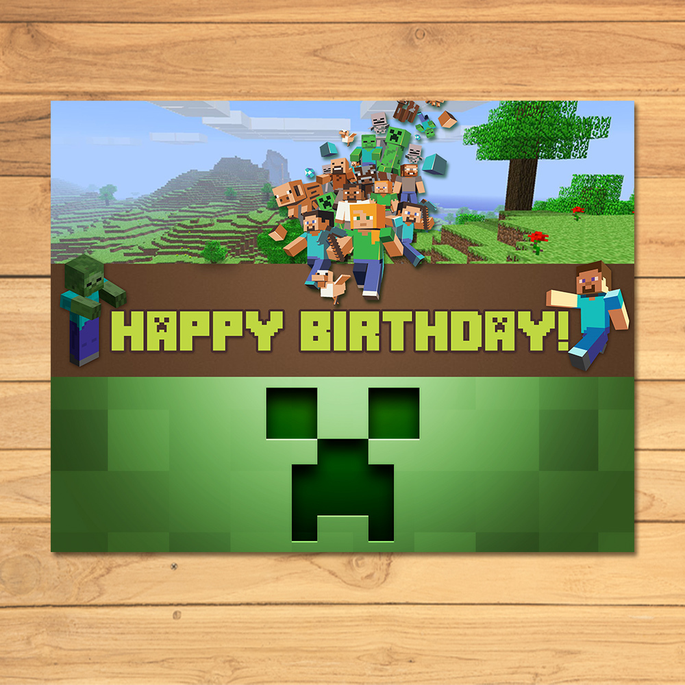 Minecraft Birthday Sign Green Blocks By MonksTavern On