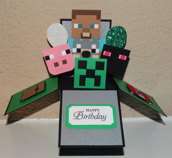 Minecraft Happy Birthday Handmade 3D Pop Up Greeting Card