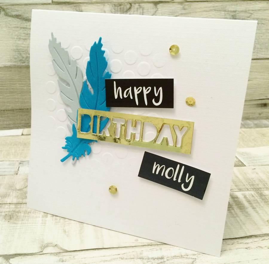 Modern Feather Birthday Card By Lisa Walker Studio