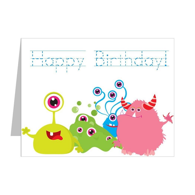Monster Happy Birthday Cards For Kids