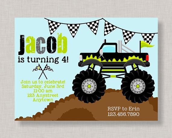 Monster Truck Invitation Monster Truck Birthday Invitation
