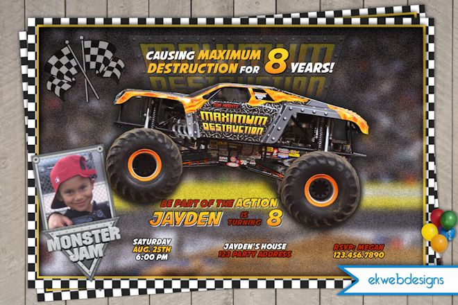 Monster Truck Printable Birthday Invitation Maximum
