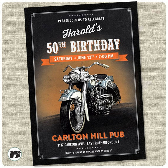 Motorcycle Biker Birthday Invitation Card Printable