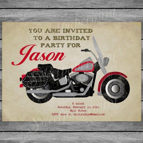 Motorcycle Birthday Invitation Card Vintage Boy Printable