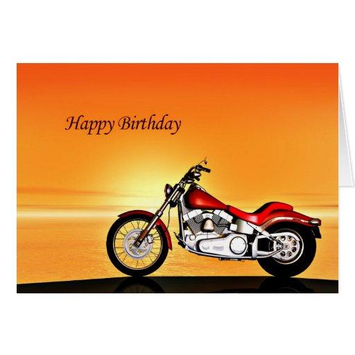 Motorcycle Sunset Birthday Card Zazzle