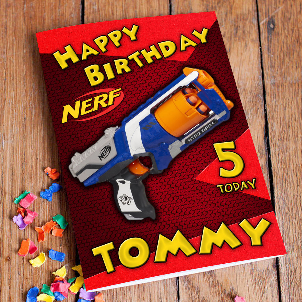 NERF Personalised Birthday Card FREE 1st Class Shipping