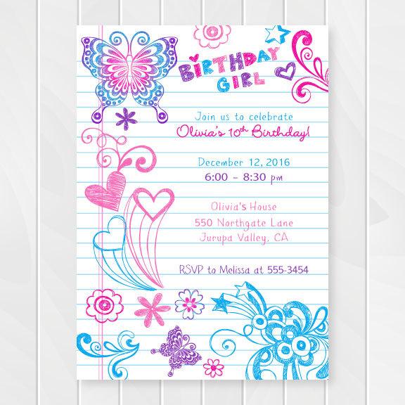 Notebook Doodles Tween Birthday Invitation Girl Birthday