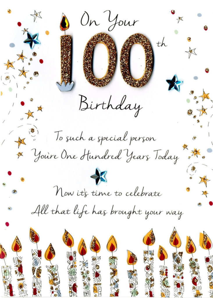 On Your 100th Birthday Greeting Card Cards Love Kates
