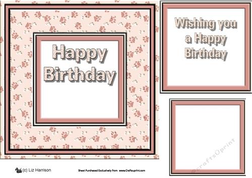Paw Print Frame Happy Birthday Insert Pink CUP699403 15