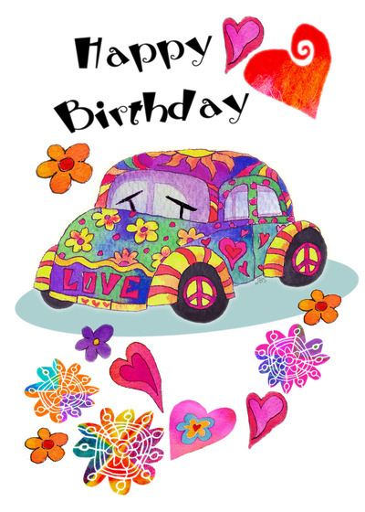 Peace And Hippies Birthday Card With Your Own Handwriting