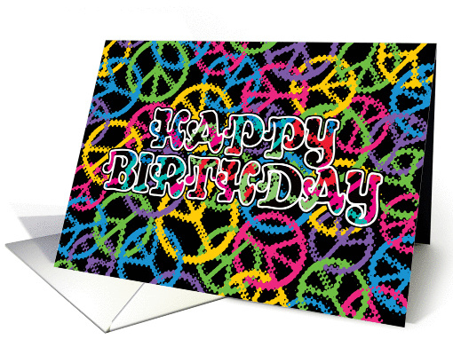 Peace Signs Happy Birthday Card 1442898