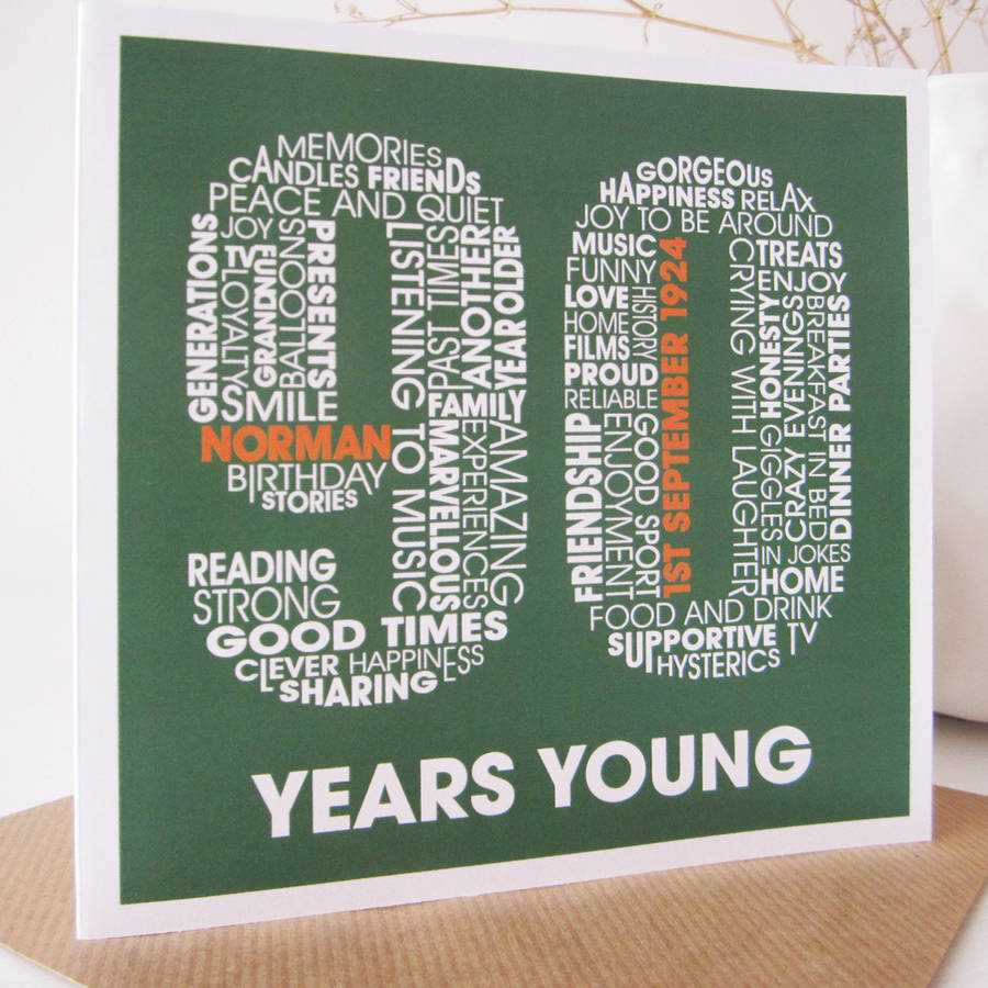 Personalised 90th Birthday Card By Mrs L Cards