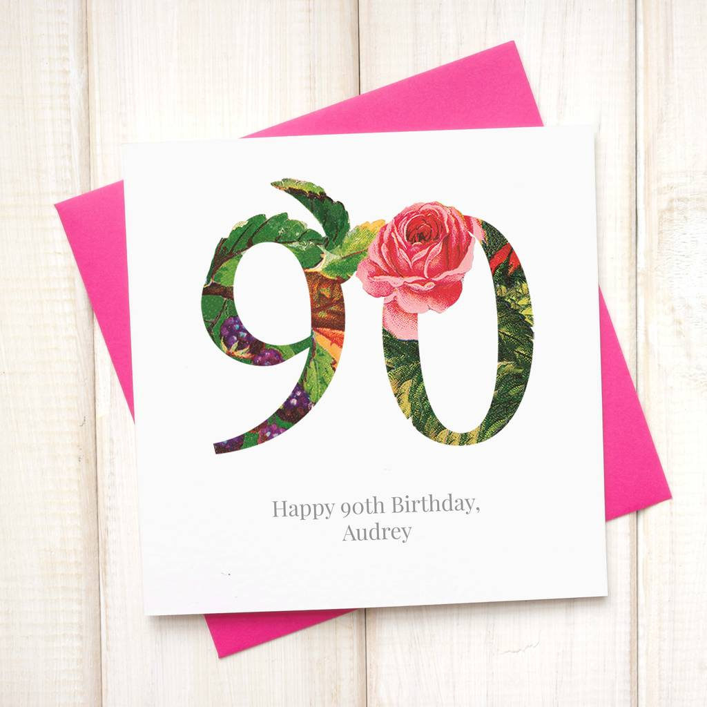 Personalised 90th Floral Birthday Card By Chi Chi Moi