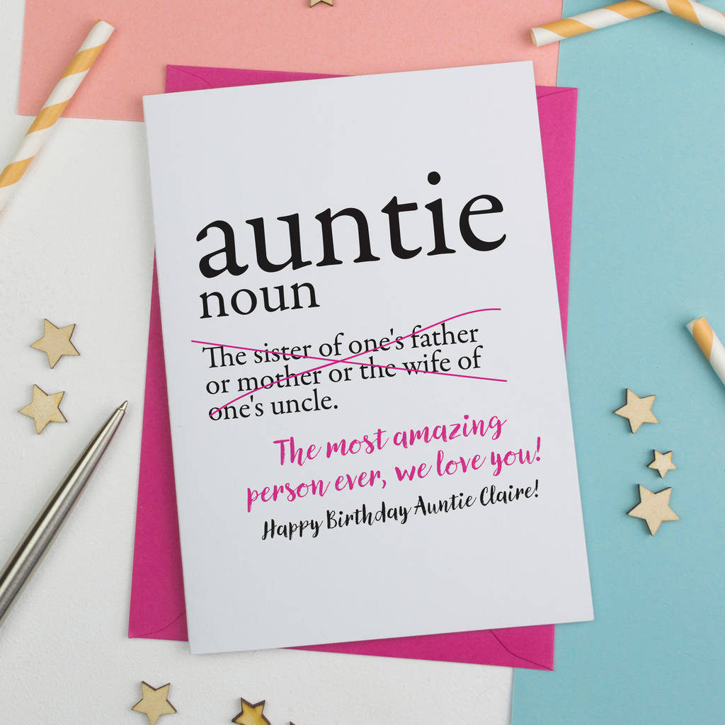 Personalised Aunty Auntie Or Aunt Birthday Card By A Is