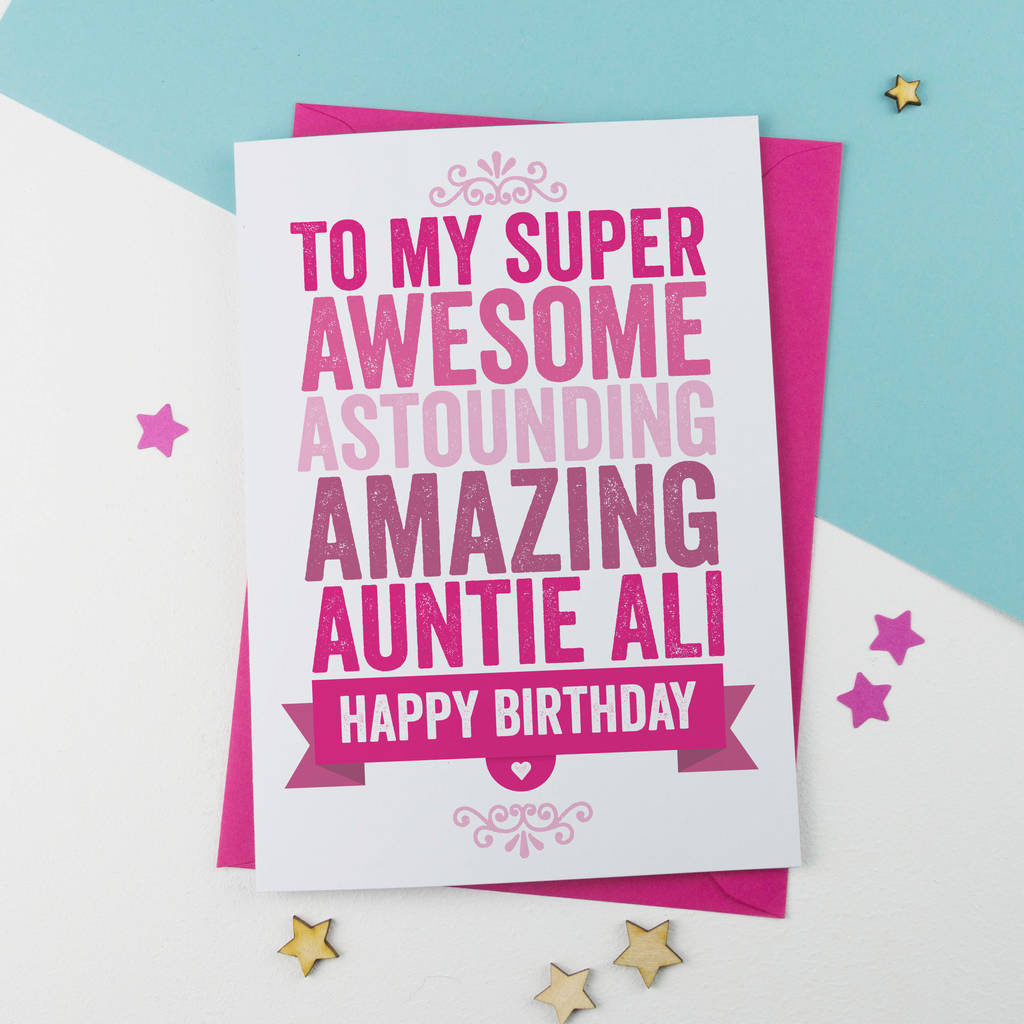 Personalised Birthday Card For Auntie Aunt Aunty By A