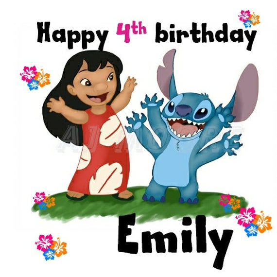 Personalised Birthday Card Lilo And Stitch By