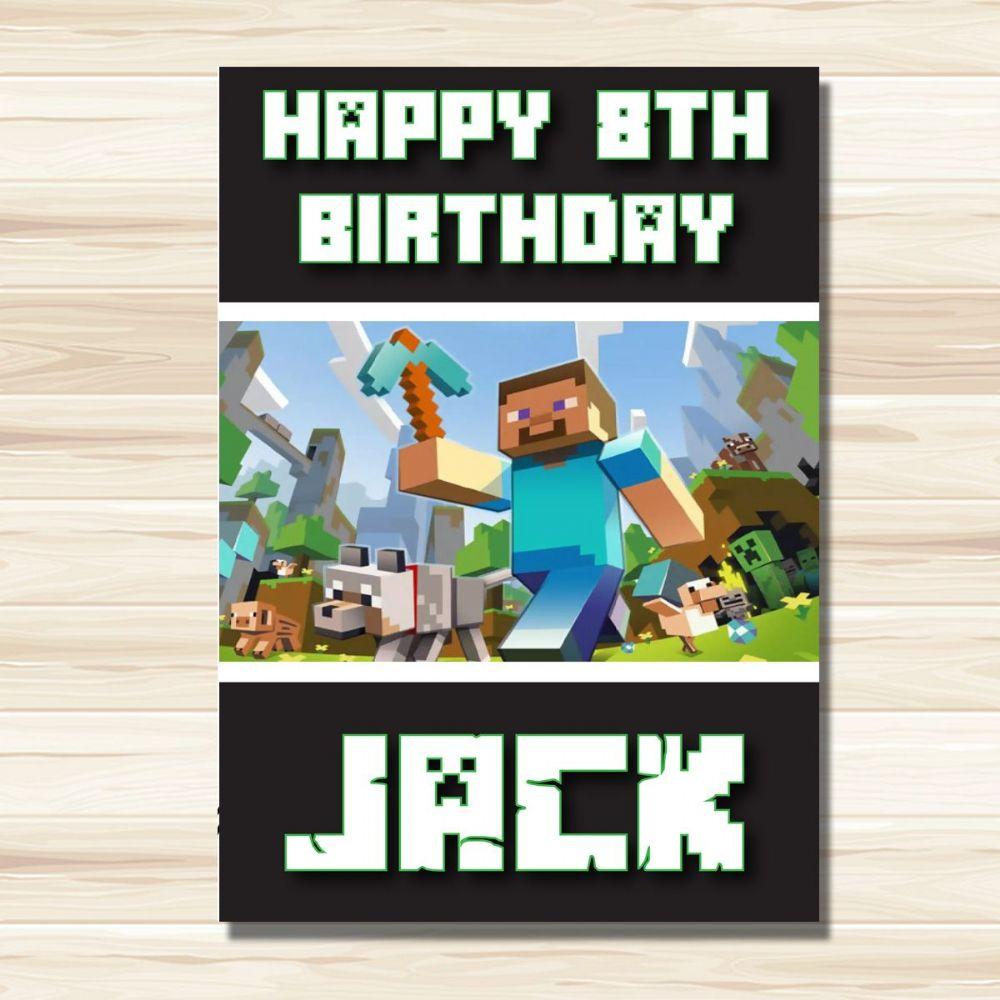 Personalised Birthday Card Minecraft