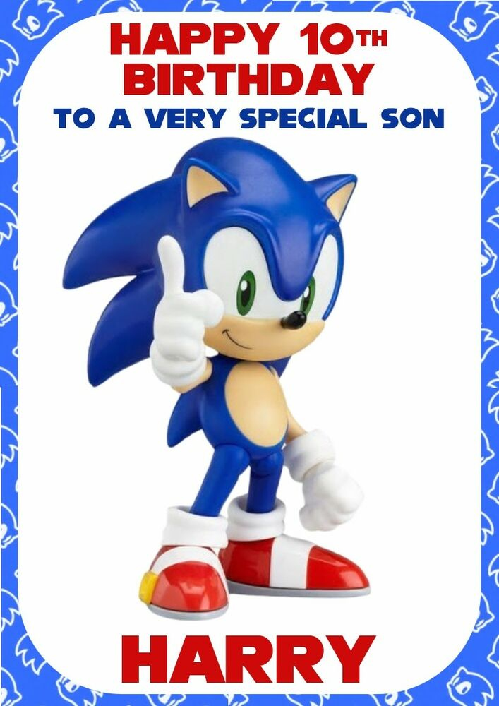 Personalised Birthday Card Sonic The Hedgehog Any Name age