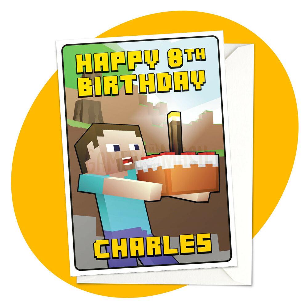 PERSONALISED BIRTHDAY CARD Steve Cake Minecraft