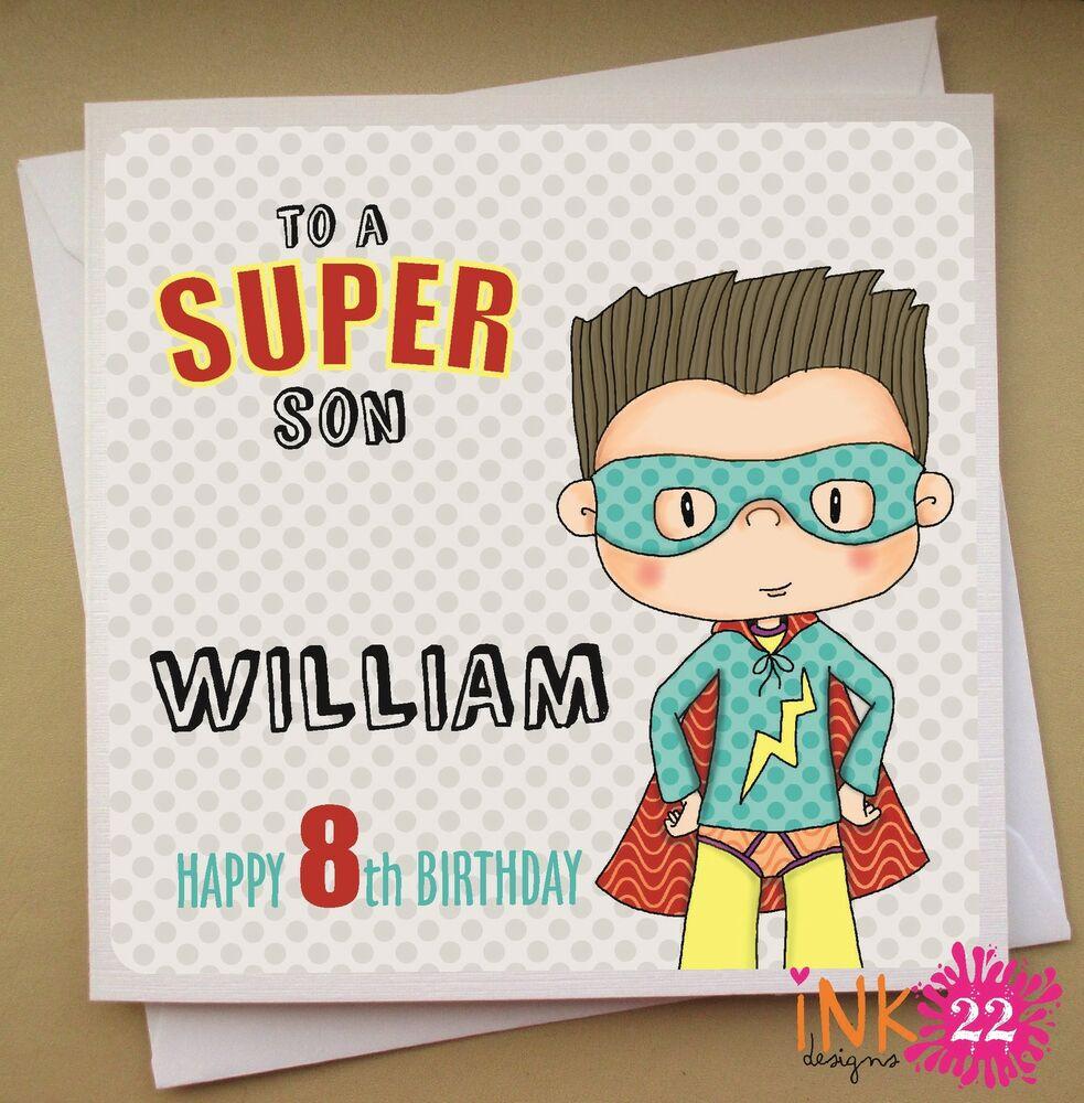 Personalised Birthday Card Superhero Boys 4th 5th 6th