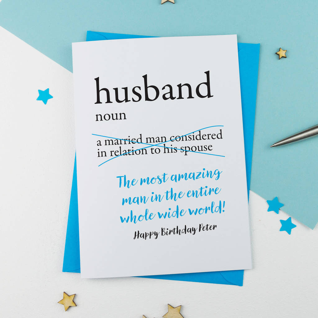 Personalised Dictionary Birthday Card For Husband By A Is