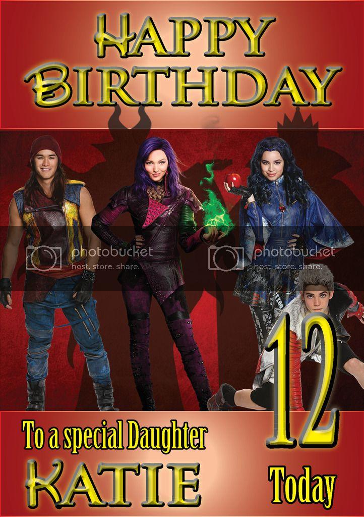 Personalised Disney Descendants Birthday Card Any Age