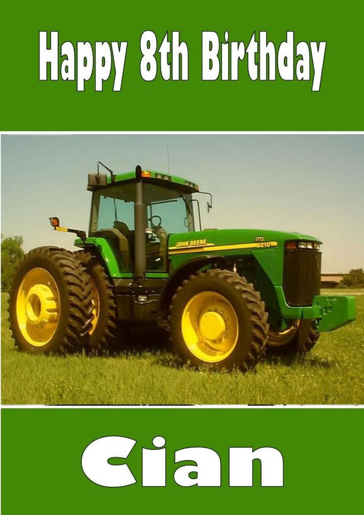 Personalised John Deere Tractor Birthday Card