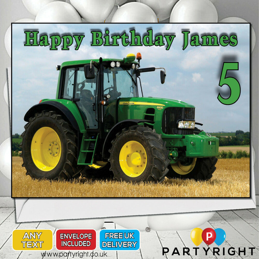 Personalised John Deere Tractor Birthday Card A5 Large