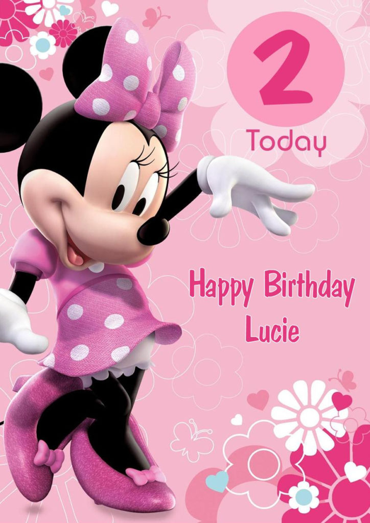 Personalised Minnie Mouse Birthday Card PINK
