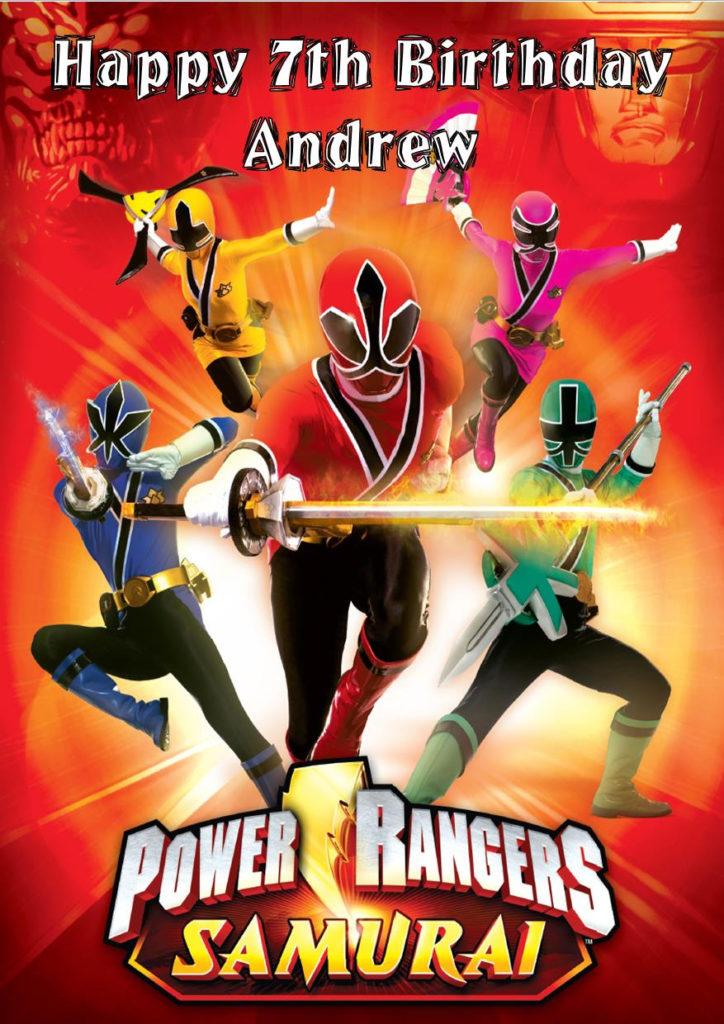Personalised Power Rangers Birthday Card