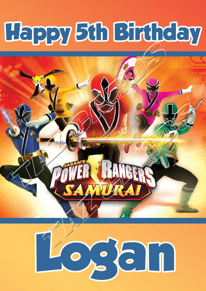 PERSONALISED POWER RANGERS BIRTHDAY CARD LARGE A5 FREE 1st