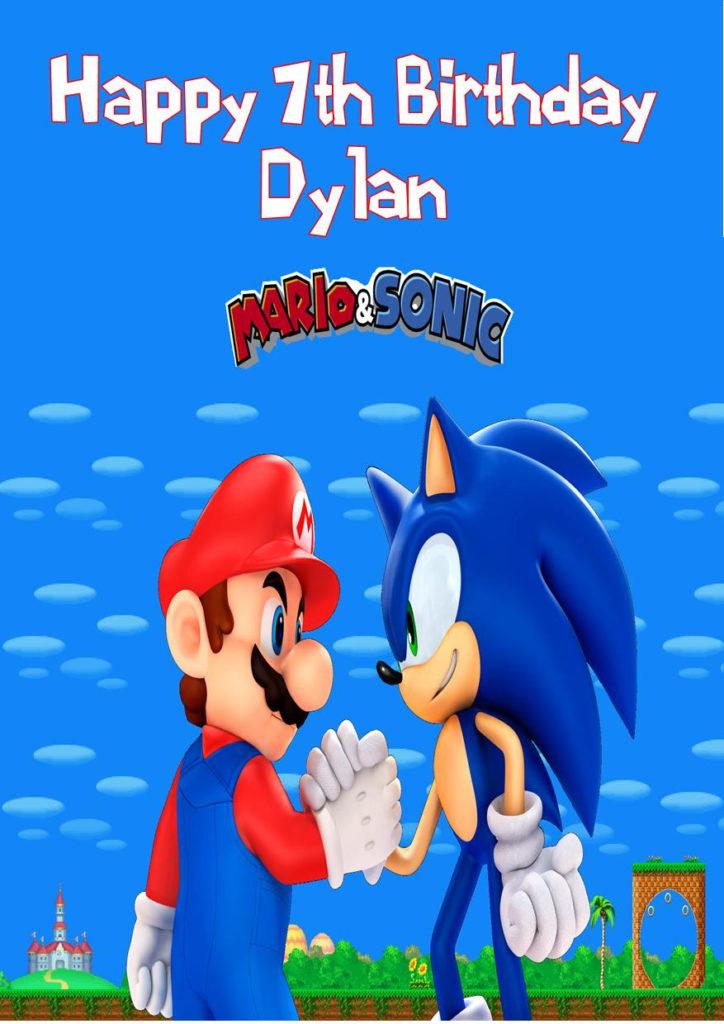 Personalised Sonic The Hedgehog Birthday Card