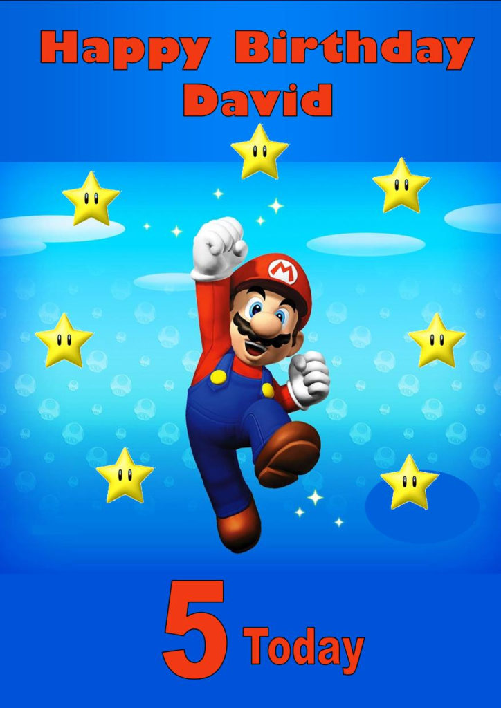 Personalised Super Mario Birthday Card 2