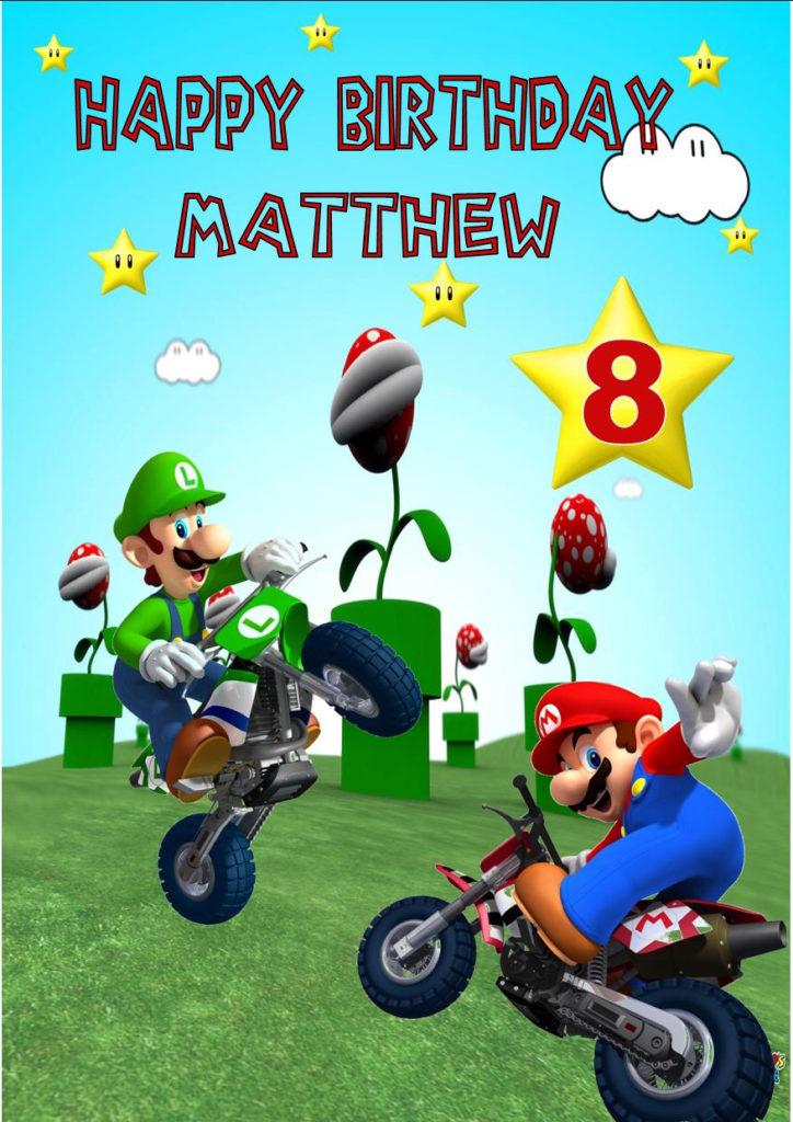 Personalised Super Mario Birthday Card